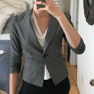 Gibson blue chambray linen blazer ruched sleeves
